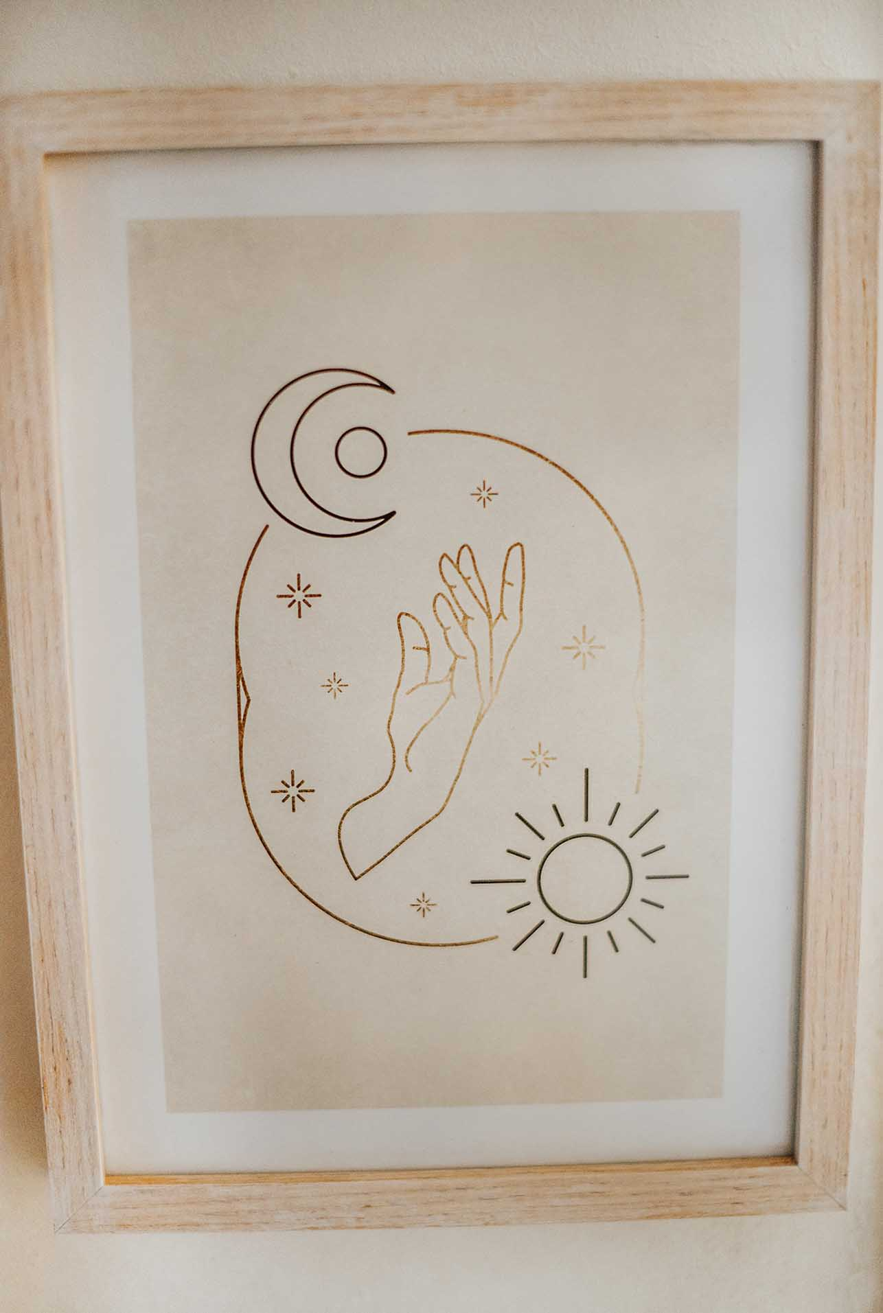 sun and moon hand poster